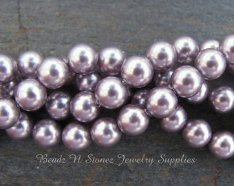 Swarovski Crystal 6mm Round Pearls 5810 - Mauve - 25 PCS