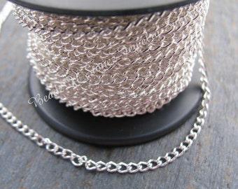 SPOOL Quality Bright Silver Plate 2.4 x 3.4mm Curb Bulk Chain
