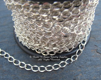 5 FEET Quality Silver Plated 3.5x5mm Hammered Curb Link Chain