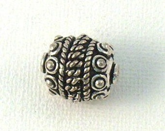 Silver Plated Copper 15mm Round Fancy Bead - 1 PC  CLEARANCE