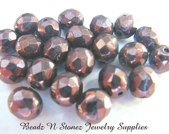 Montana Burgundy 8mm Round Faceted Czech Glass Firepolish Beads - 20 PCS