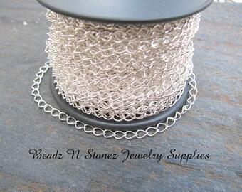 5 Feet Quality Bright Silver Plate 2.8mm x 4mm Curb Bulk Chain