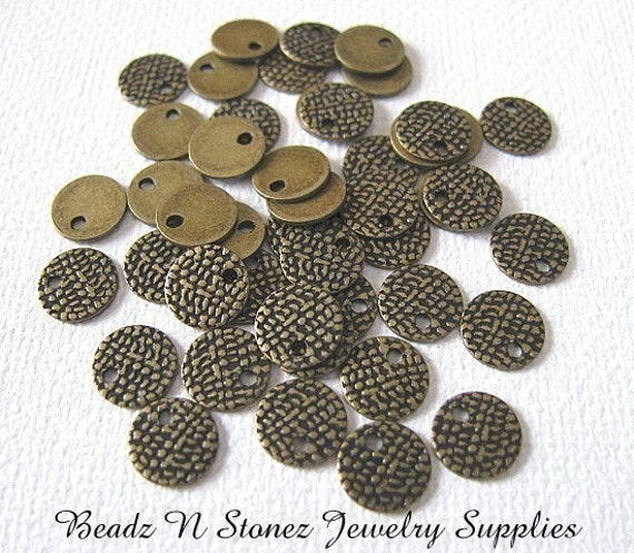 Hammered Look Coin Charm Drop, 7mm Antique Gold Brass- 25 PCS