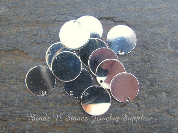 Bright Silver Brass 12mm Coin Charm Drop - 12 PCS
