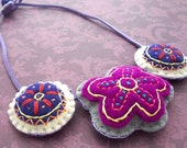 Embroidered Flower Felt Necklace 171