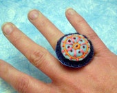 Embroidered Circle Felt Ring No.180