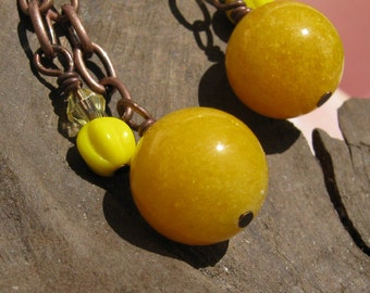 Summer Sun Buttercup Yellow and Copper Dangle Earrings