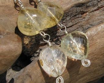 Citrine Yellow Quartz Faceted Gemstone Handmade Dangle Earrings