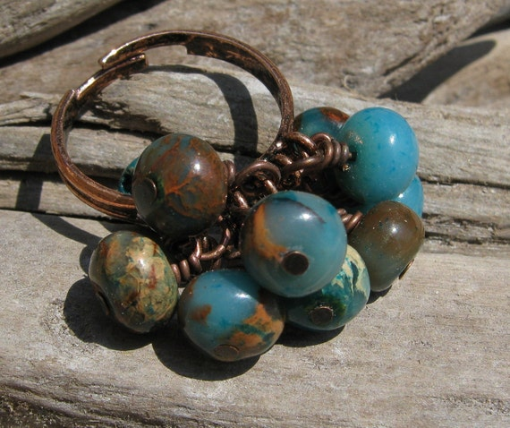 Tide Pool Crysocolla Gemstone and Copper Bauble Ring in Blues and Browns OOAK Jewelry