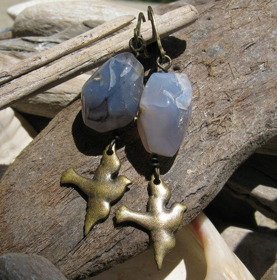 Lavender Purple Agate Stone Nugget Earrings with Antiqued Brass Bird-in-Flight Dangles