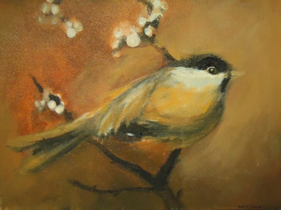 "Acrylic painting of Black-capped Chickadee, sized 12 x 16, titled ""Seek"""