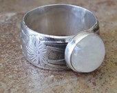 Moonstone flower band ring