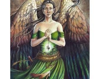 ORIGINAL PAINTING - Mentor - Fantasy Angel Watercolor Art