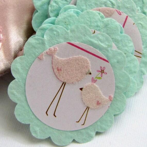 Pink Aqua Scalloped Circles-Baby Girl