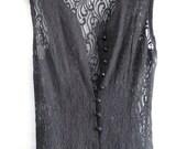 GORGEOUS long black lace vintage dress M goth