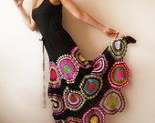 Long Black Skirt with crochet circles