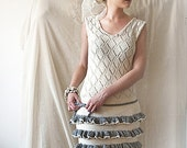 Light Gray and White Dress - Knitted Cotton