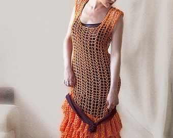 Orange Crochet Dress - MADE TO ORDER