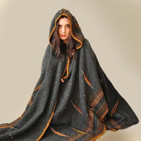 Dark Gray Handwoven Poncho (Sold - Accepting custom orders)
