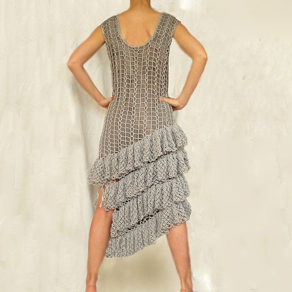 Gray Crochet Dress with Ruffles - MADE TO ORDER