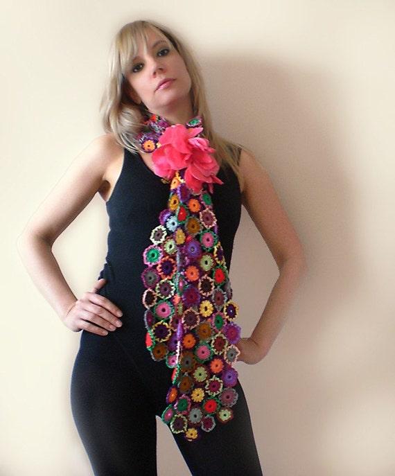 Circle Crochet Scarf - Cotton - Purple, Pink