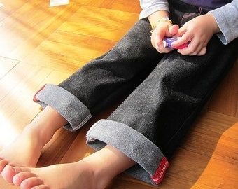 KIDS TROUSERS - PDF e Pattern - 3 in 1 Straight roll-up pants - Size 6Y