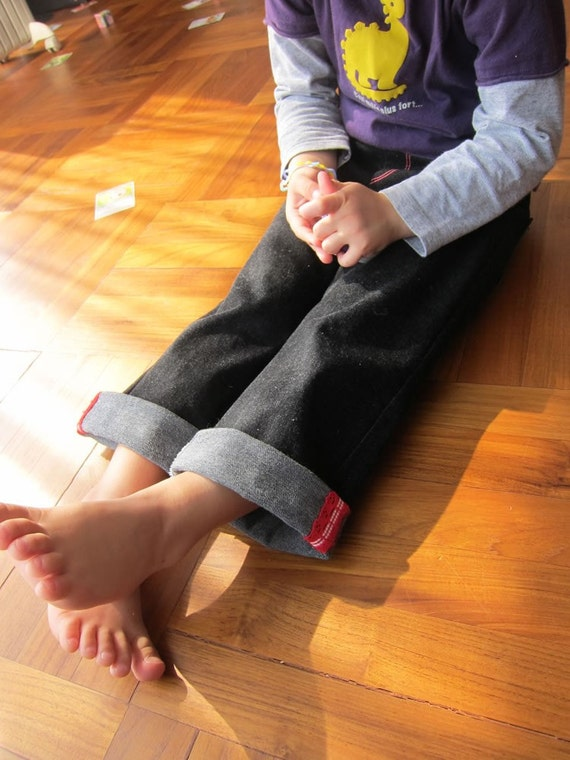 KIDS TROUSERS - PDF e Pattern - 3 in 1 Straight roll-up pants - Size 4Y
