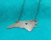 Blackened silver heart of NC necklace