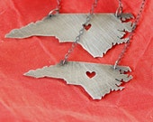 Petite Blackened Silver North Carolina Necklace with Heart