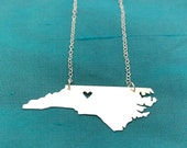 NC Necklace with Heart over Winston-Salem in either finish