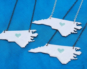 UNC Special Enameled Necklace with Pale Blue Enamel Heart over White Silver or Blackened Silver Chain