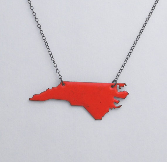 North Carolina Necklace with Red Enamel and Blackened Silver Chain as worn by Brooke on One Tree Hill Final Episode