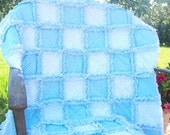 Simply dots  White and Blue Baby boy rag quilt blanket