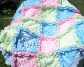All Chenille Sweet and Soft baby girl  or boy security rag quilt blanket