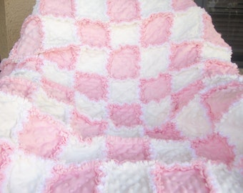 Sweet and soft White and Pink minkee blanket 36x45