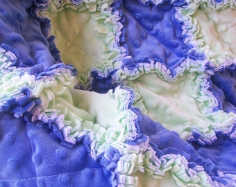 GREEN AND BLUE  Sweet and Funny baby boy security rag quilt all chenille