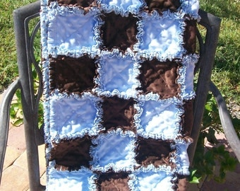 So Soft Blue and Brown minky baby boy rag quilt