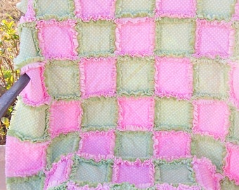 Simply dots Green and Pink Baby girl rag quilt blanket