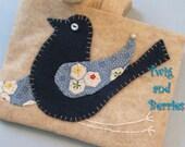 Fly Away Blue Bird Wool Applique Accessory Bag