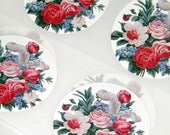 Stickers Vintage Barkcloth Pink Roses and Feather Plume Images