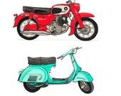 Dynamic Duo, Vintage Moto  (Set of 2)