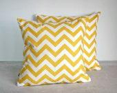White & Yellow ZigZag Print Pillow