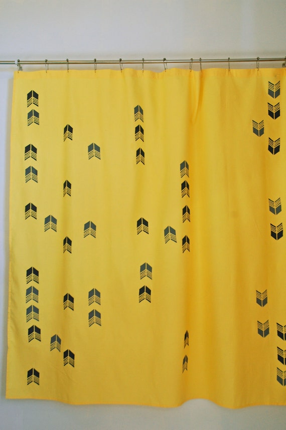 Items Similar To Yellow Shower Curtain With Light Dark Arrow Tail Print On Etsy