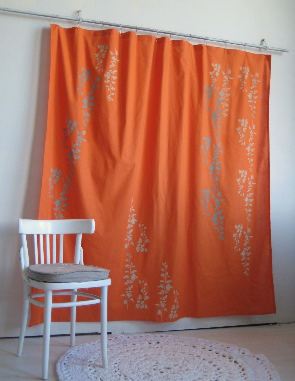 Bright orange shower curtain with wisteria print by - Curtains with orange walls ...
