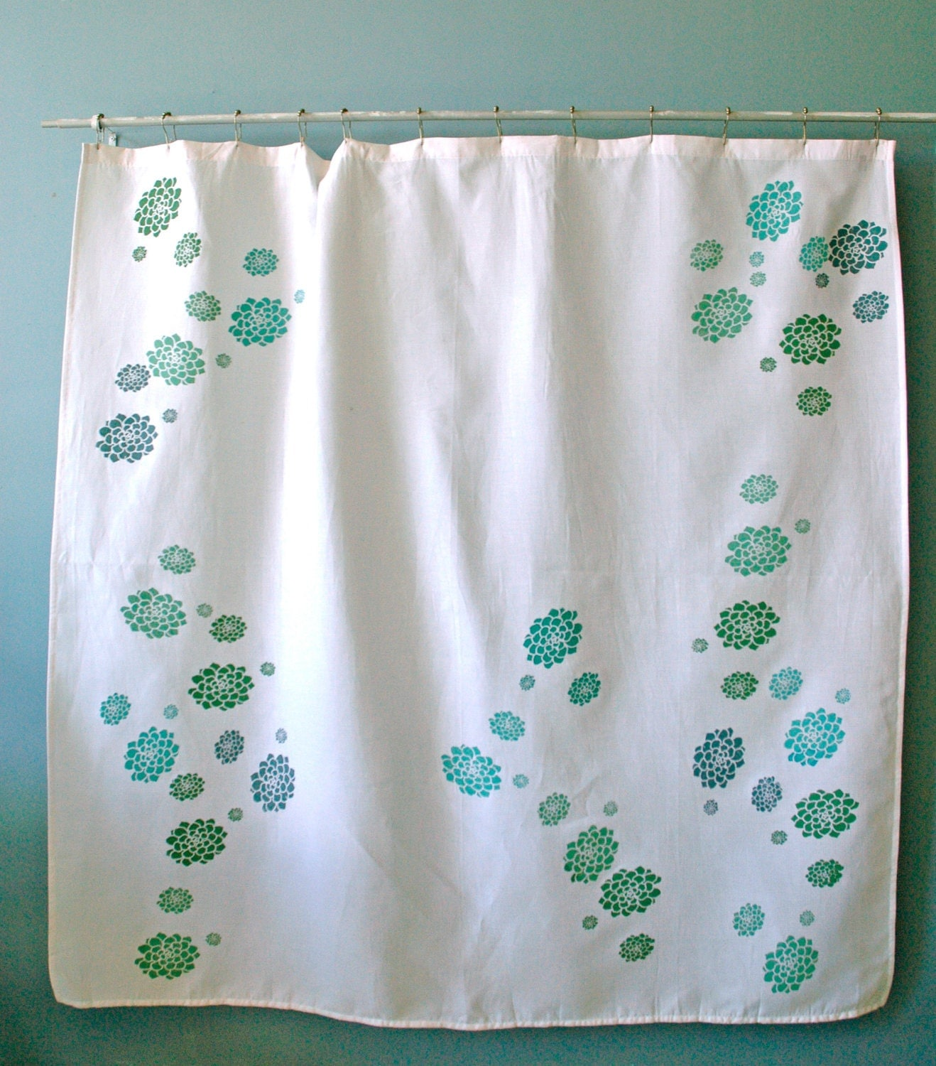 White Shower Curtain With Green And Teal Hens By