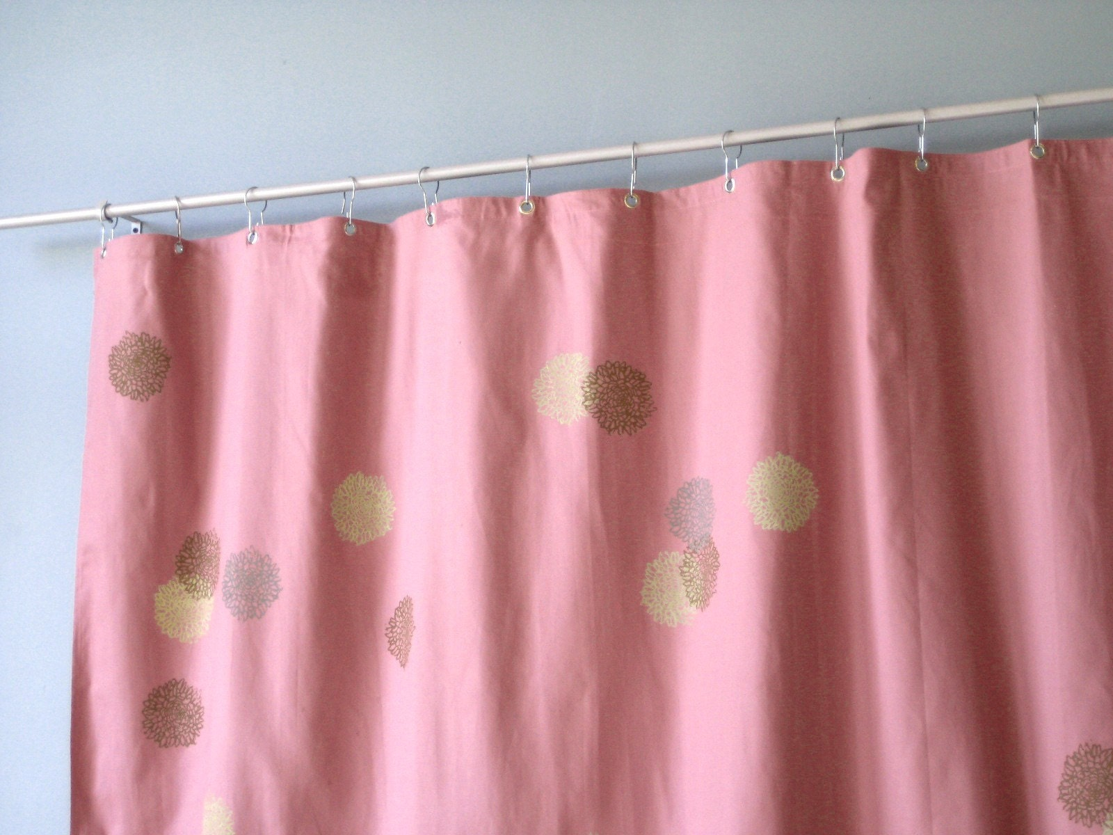 mauve pink shower curtain with chrysanthimum print by appetitehome