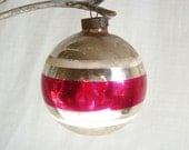 vintage fuscia striped ornament
