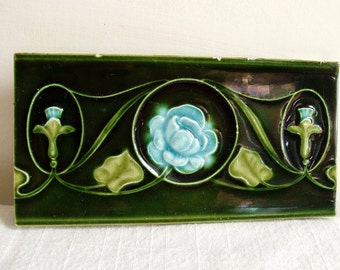 vintage English Art Nouveau tile