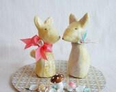 The Foxes Found Bliss - Wedding Cake Topper (custom order for Rachel Hulburt)