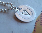 hand stamped personalized small disc tag heart handstamped necklace LOVE ...